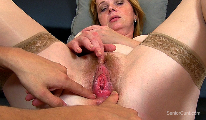 SeniorCunt.com - Redhead mom Marg hairy pussy spreading close-ups